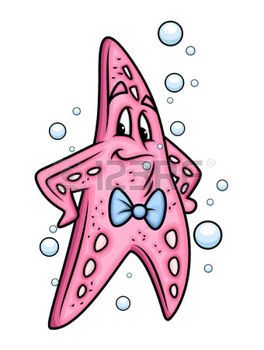 cartoon starfish: Cartoon Starfish Portrait Illustration