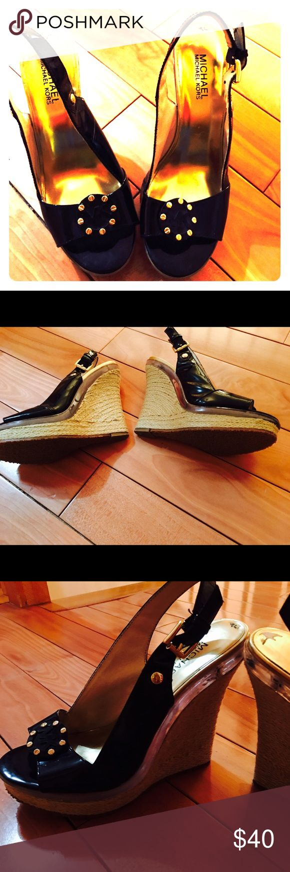 Michael Kors wedge shoes Beautiful black patten leather wedge shoes size 7m worn a few times very comfortable KORS Michael Kors Shoes Wedges