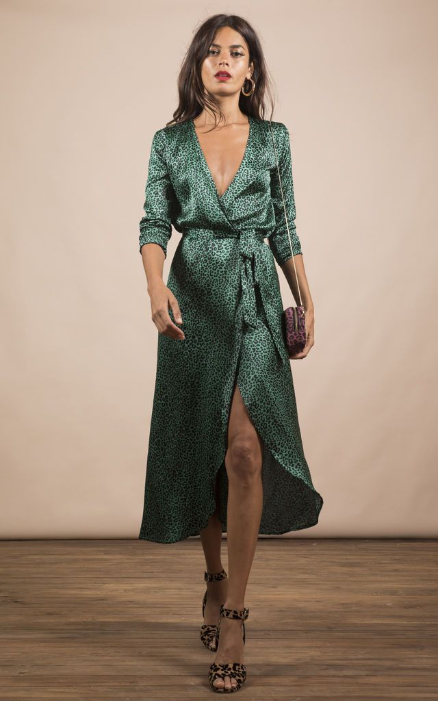 Yondal Dress In Small Green Leopard