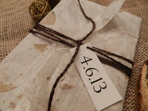 Eco Friendly, Recycled Paper Wedding Invitation, Wrapped In Natural Leaf  Paper.