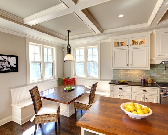 Revere pewter paint color white cabinets blue subway for Kitchen ceiling colors