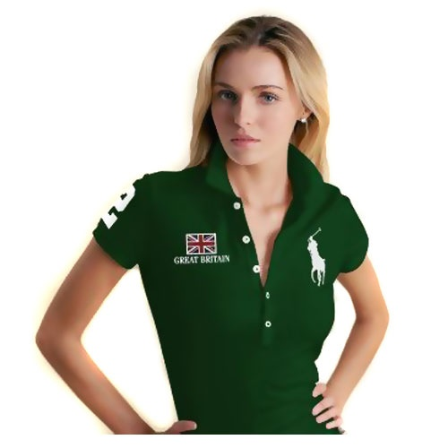 Ralph Lauren Women's Cotton Short-sleeved Polo 1017 In Dark Green; don't care for the embellishments on the right, but the color and emblem are desperately cute!