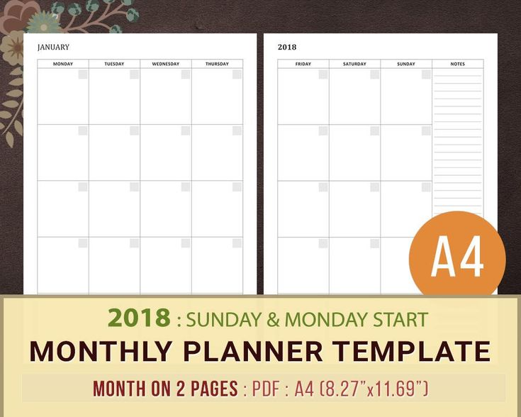 The  Best Monthly Planner Template Ideas On   Budget