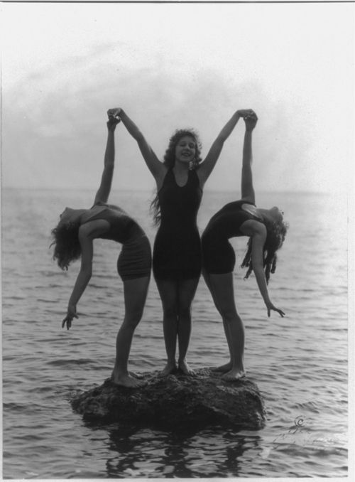 Wonderful vintage photo. These must have been very brave and brazen girls back then.