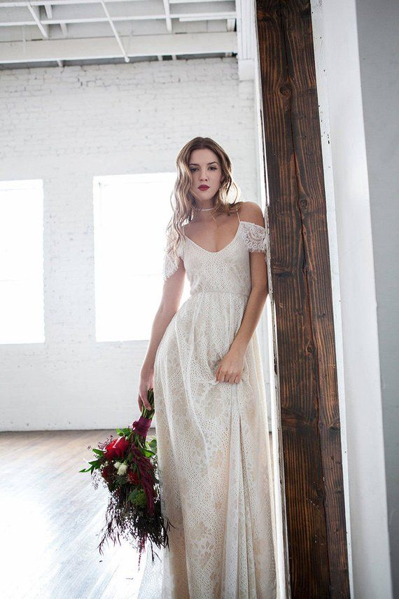 Boho Wedding Dress Off Shoulder Wedding Dress Hippie Wedding Dress