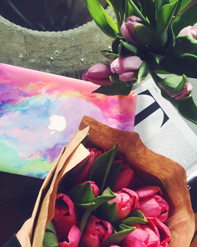 busy beeeee  ready for another great day!  Colorful mac and tulip flowers flatlay.