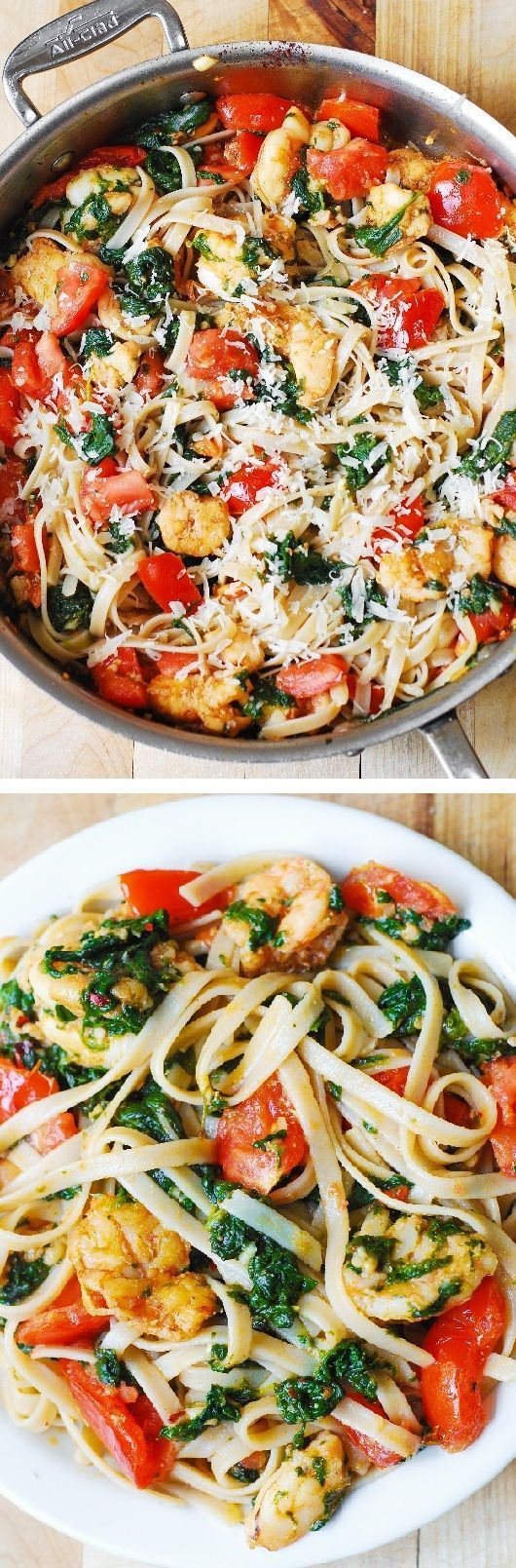 Shrimp pasta with fresh tomatoes and spinach in a garlic butter sauce. An Italian comfort food spiced just right! Includes gluten free option (I tried this recipe with Tinkyada brown rice fettuccine - it was AMAZING!) @juliasalbum
