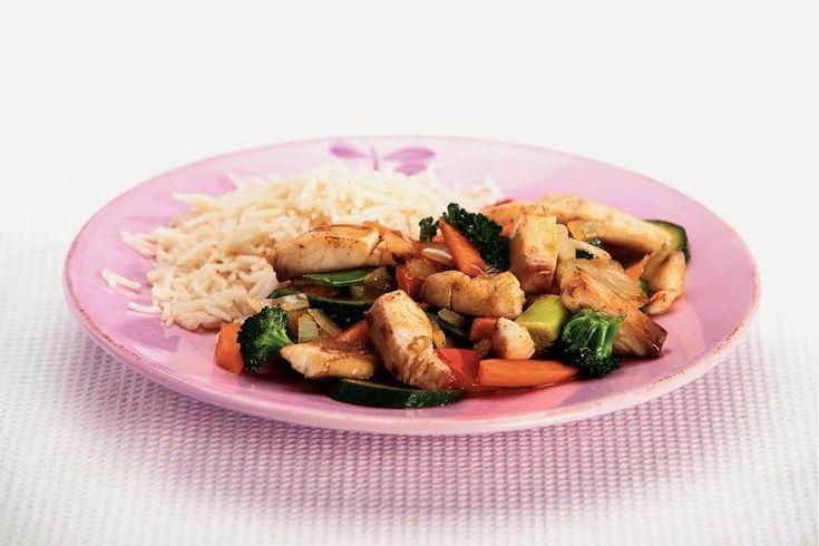Kijk wat een lekker recept ik heb gevonden op Allerhande! Tilapia roerbakschotel met rijst