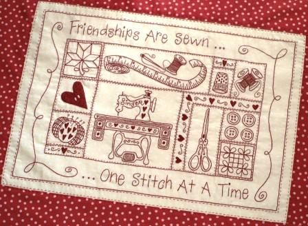 'Friendships Are Sewn' stitchery by Wildcraft Farm ... $13.00 @ Country Quilt Co (AU)