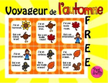 Get your students up and learning with this French Game ~ Voyageur. ~ J'ai... Qui a...? format builds oral communication skills in French through asking and answering questions.~ Builds vocabulary for Fall words - l'automne