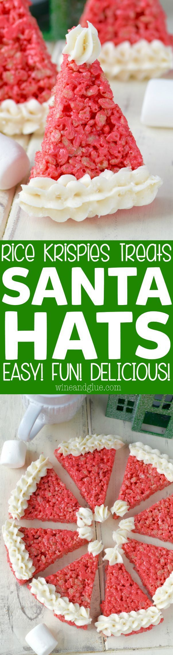 These Kellogg's® Rice Krispies® Treats Santa Hats make for such a fun easy Christmas treat!