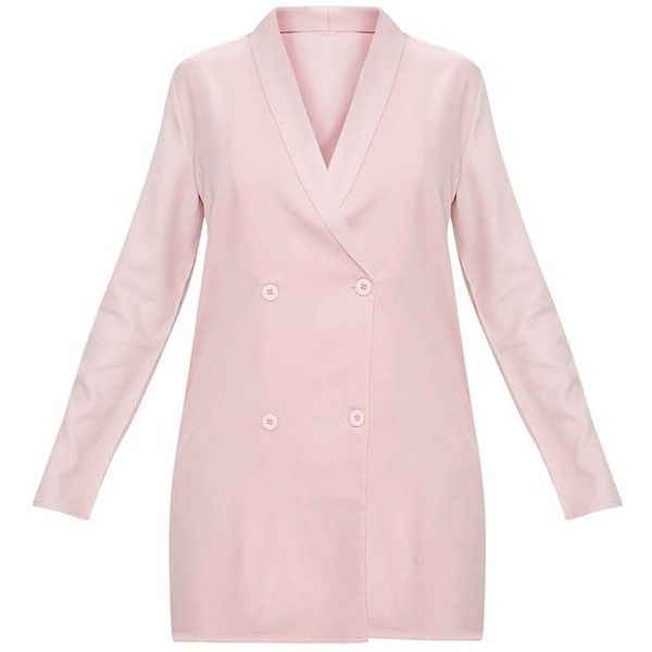 Dusty Pink Oversized Blazer Shift Dress ($45) ❤ liked on Polyvore featuring dresses, shift dress, pink shift dresses, oversized dress, pink dress and dusty pink dress