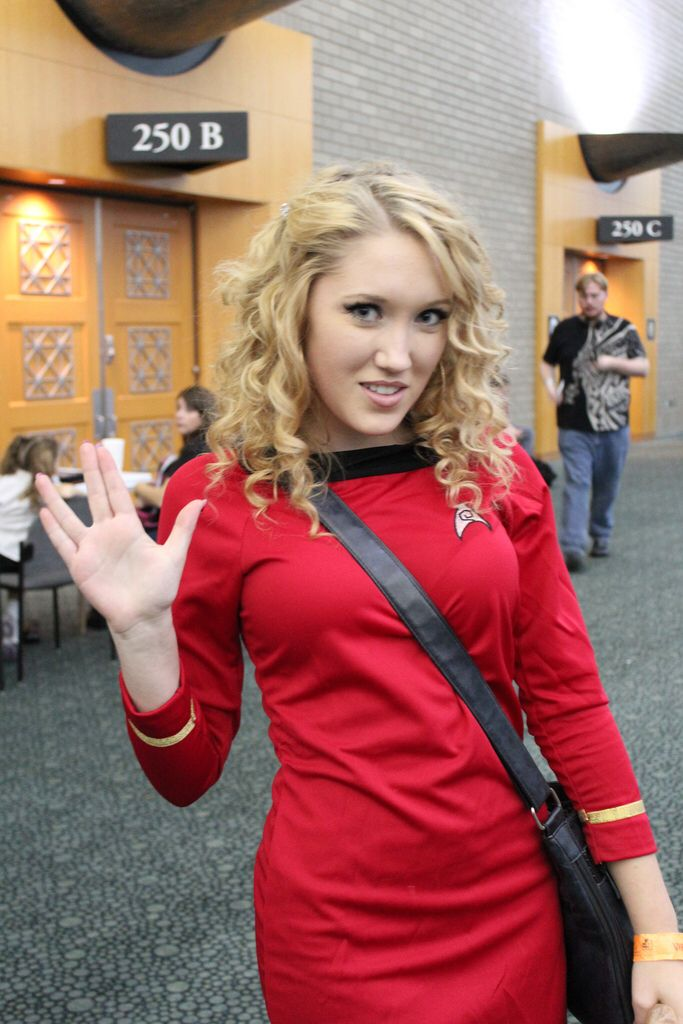 blond girl startrek uniform