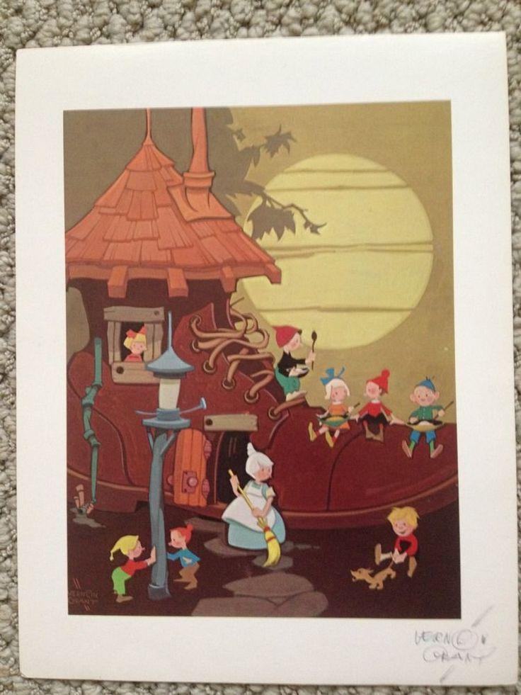 Vernon Grant Signed Print Kellogg's Walt Disney Women In A Shoe Snap Crackle Pop
