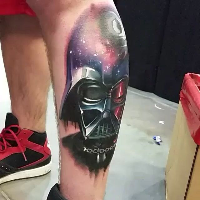 Darth Vader Tattoo. Click image for video. Excellent tattoo by @christoler #perfectartist #darthvader #starwars #starwarstattoo this clip needs a soundtrack