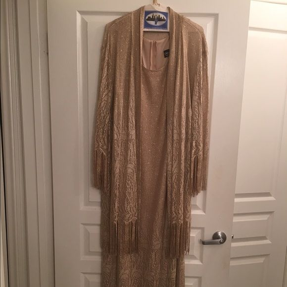 """Gold Metallic Evening Dress Sz 22 Get ready for holiday parties with this Beautiful Gold Metallic Evening Dress Sz 22. Dress is sleeveless with a jacket. Fringed. Fringe hits about at my ankles and I'm 5'7"""". Onyx Nite Dresses Maxi"""