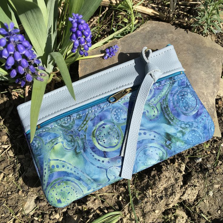 Wallet clutch iPhone 7S plus case Sky Blue Italian Leather Boho Paisley Batik makeup accessories bag everyday function Pat Halpen Leather by SkyPathDesign on Etsy