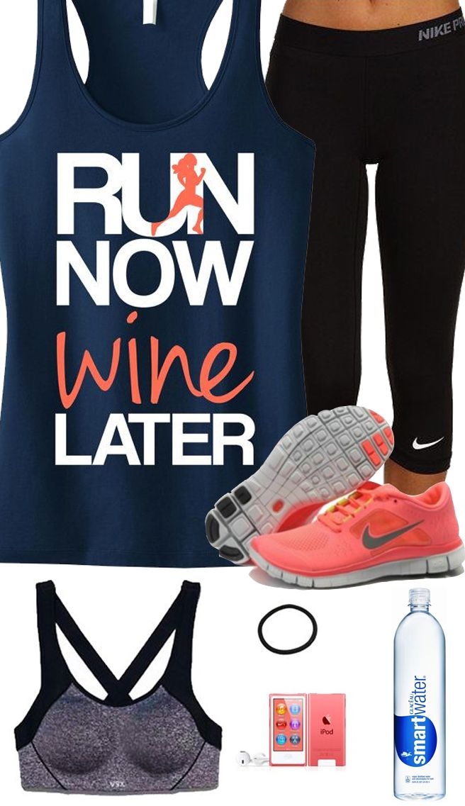 Cool #Runners Theme Outfit featuring a RUN NOW WINE LATER Navy Racerback Tank Top by #NobullWomanApparel