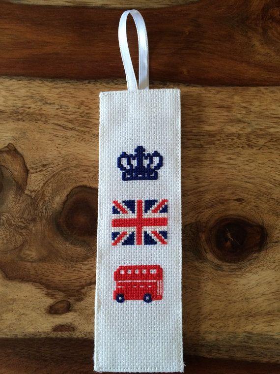 Krone, britische Flagge, doppelte Becker Bus Lesezeichen.