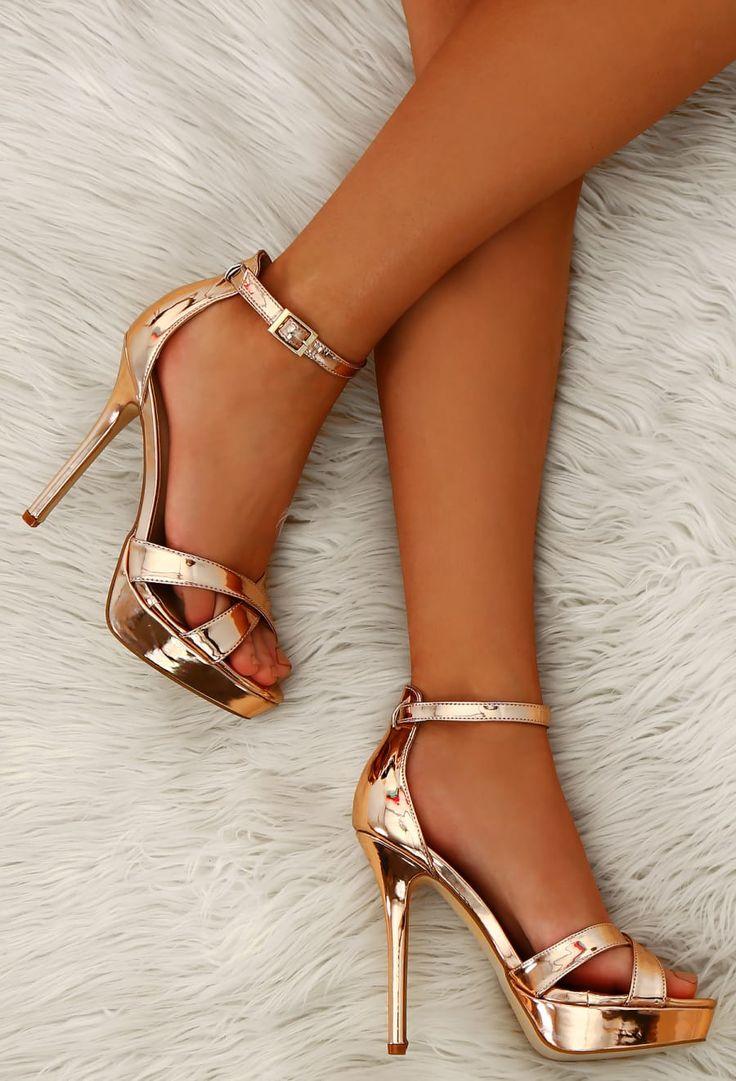 Game of Chromes Rose Gold Peep Toe Platform Heels