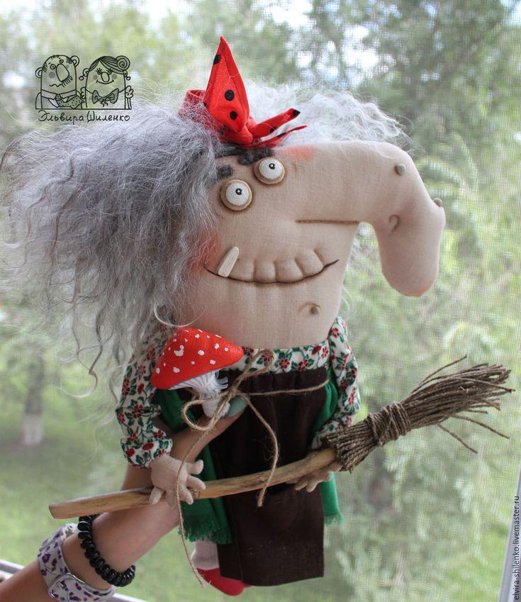 Купить Бабка Ёжка - Нос Картошкой - ярко-красный, баба яга, метла, текстильная кукла