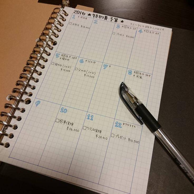"""42 Likes, 1 Comments - うーさん (@usagichan.a) on Instagram: """"* 1年間にかかる特別費の 予算表を作りました! 去年はなにも考えてなくて 直前になって貯金から 下ろしたりしてたので 今年は、バタバタしないように 予算表を元に特別費の…"""""""