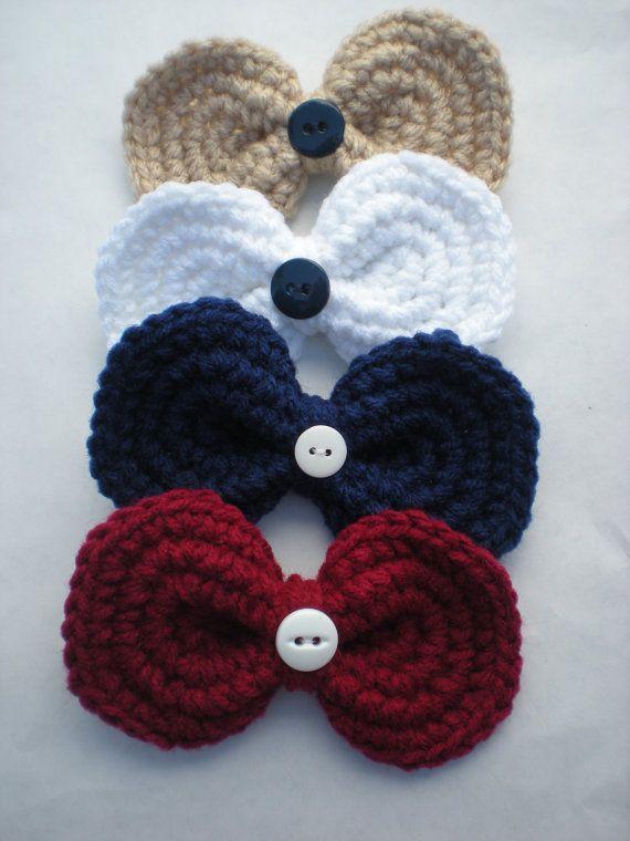 Set of 4 School Uniform Bow Crochet Alligator Hair Clips