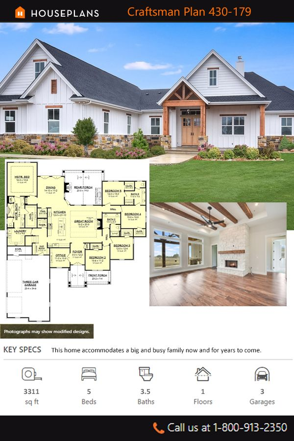 Craftsman Style House Plan 5 Beds 3 5 Baths 3311 Sq Ft Plan 430 179 In 2020 Craftsman House Plans House Plans Farmhouse Craftsman Style House Plans