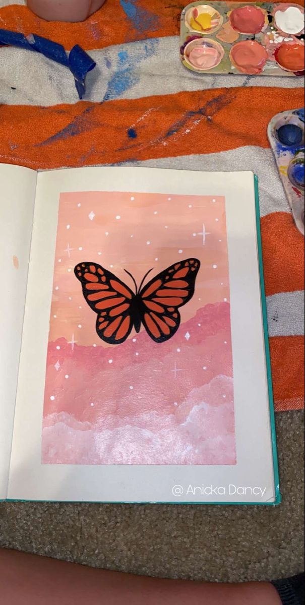 Butterfly Acrylic Painting Small Canvas Art Diy Simple Paintings