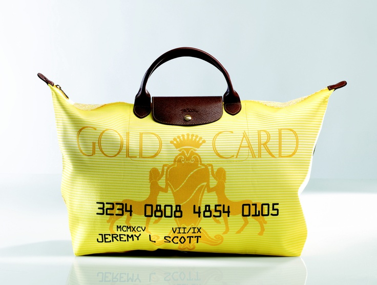 "Le Pliage ""Gold Card"" - Collaboration with Jeremy Scott. Front view. Longchamp Collection FW 2008"