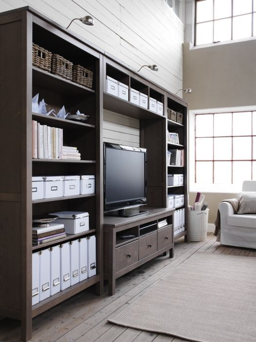 HEMNES entertainment center in black-brown from IKEA.