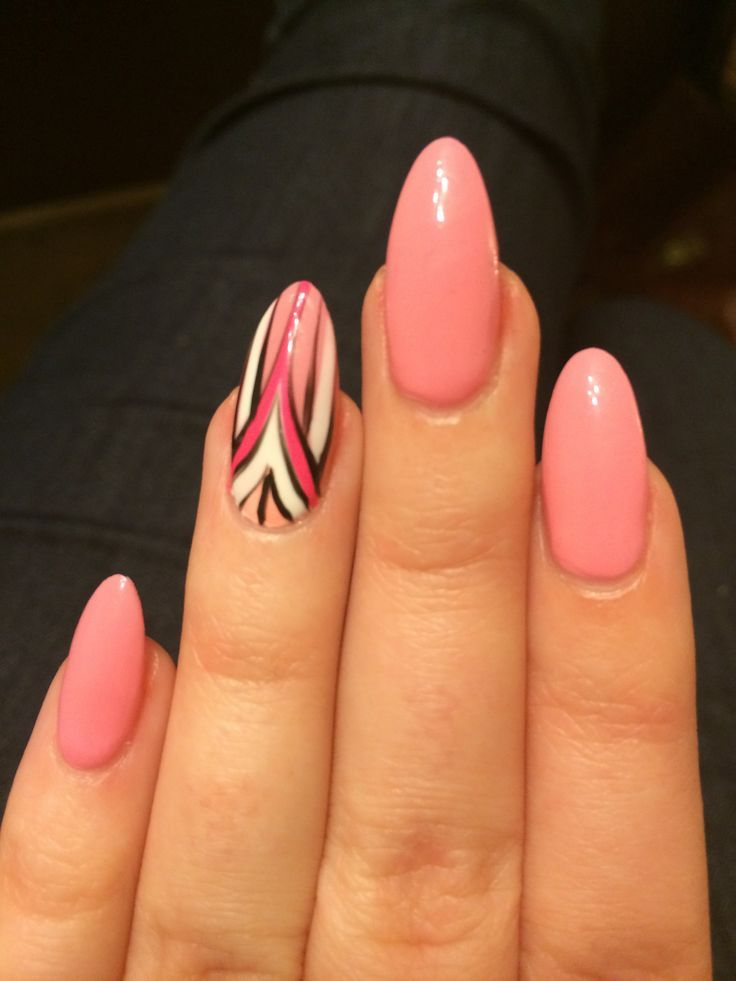 pink stiletto nails with art deco design in white pink. Black Bedroom Furniture Sets. Home Design Ideas