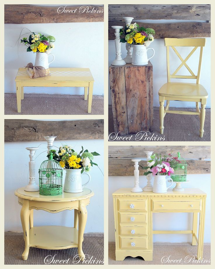 a sorted collection of furniture painted yellow. I especially like the old piano bench!