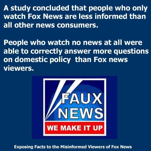 I read this study. The most informed Americans relied on combinations of NPR and other news sources. Fox News viewers were less informed than those who watched no news, however. Sad.