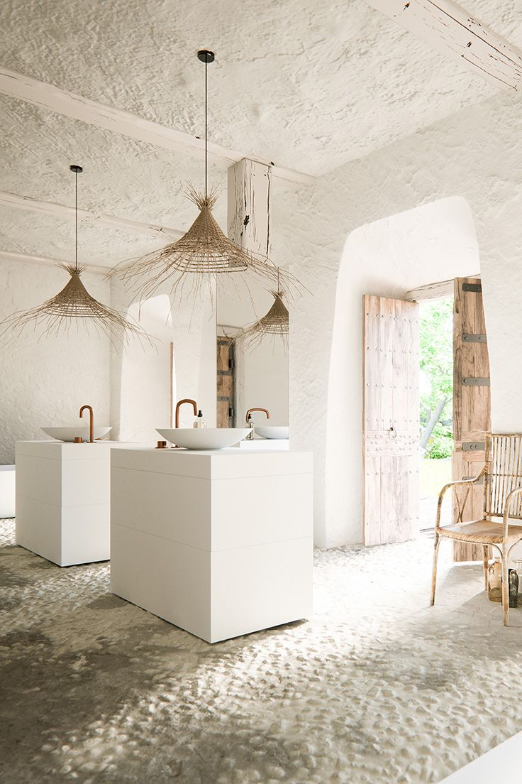 COCOON rustic beige bathroom design | Piet Boon raw copper basin mixer and Piet Boon furniture