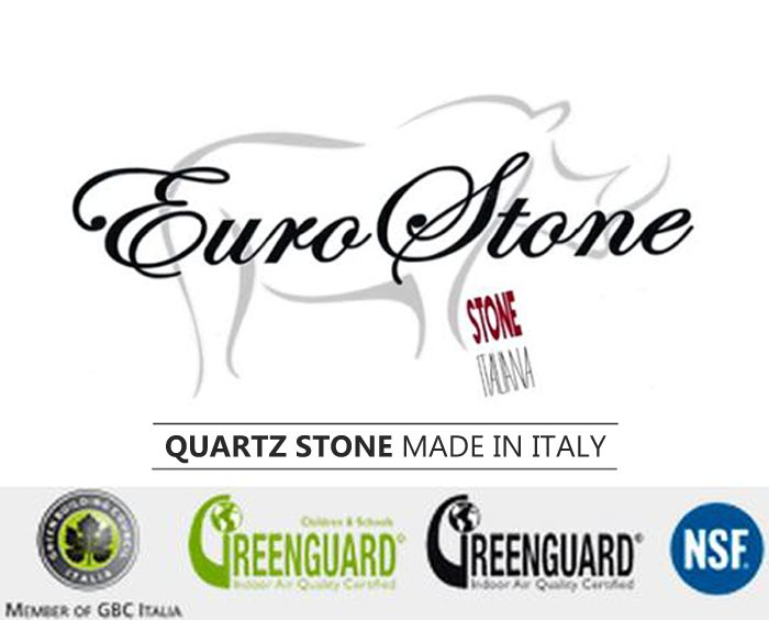 EuroStone by Stone Italiana is a manufacturer of quality Italian quartz surfaces, quartz tiles, and U-Design quartz sinks for a range of applications such as kitchen countertops, bathroom vanities and counters.