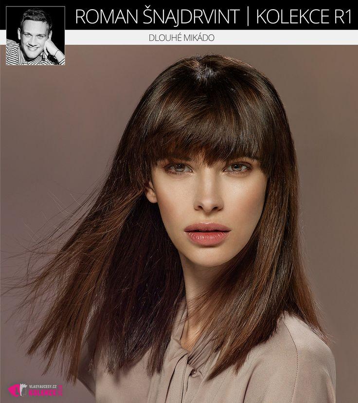 Extra módní dlouhé mikádo na krásných hnědých vlasech. (Roman Šnajdrvint, kolekce účesů R1.)