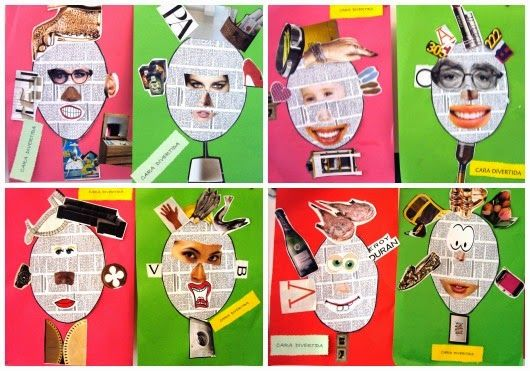 collage faces using newspaper and magazines