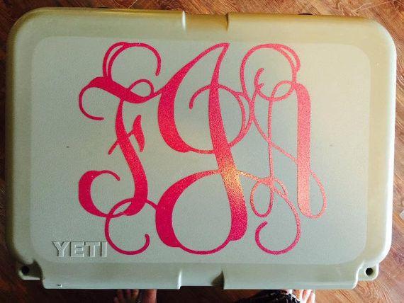 Custom Yeti Cooler Decal, Monogram Decal, Personalized Cooler Decal, Yeti Decal, Cooler Decal