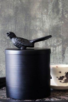 Perching Bird Metal Jar/Tin