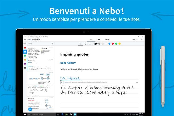 Nebo, l'app per prendere appunti a mano con riconoscimento della scrittura GRATIS per un tempo limitato http://www.sapereweb.it/nebo-lapp-per-prendere-appunti-a-mano-con-riconoscimento-della-scrittura-gratis-per-un-tempo-limitato/        Nebo Nebo è un'interessante applicazione disponibile su PC e Tablet Windows 10 che permette di prendere appunti, fare grafici o disegnare tramite penna in modo da convertirli in documenti tramite riconoscimento della scrittura. Di segu
