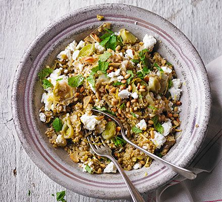 Freekeh, made from durum wheat, makes a refreshing replacement for rice in this vegetarian one-pot