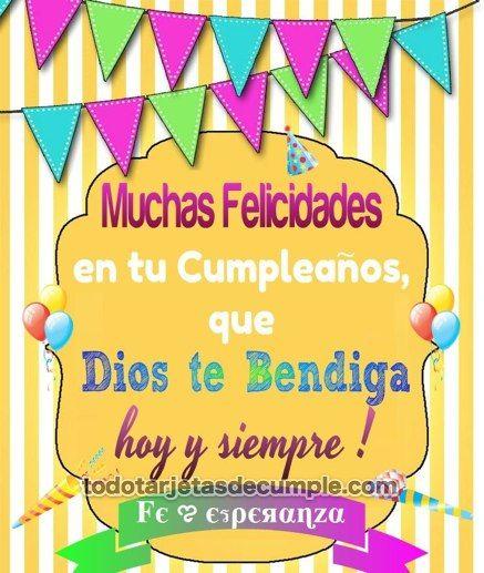 Muchas felicidades en tu cumpleaños Dios te bendiga tarjetas de cumpleaños Pinterest Mars