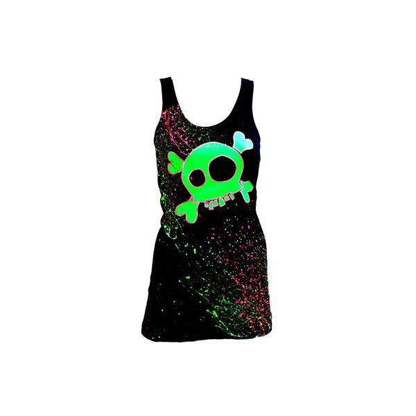 Kleding > Jurken > Womens Neon Skull dress black - Couch - Attitude... ($40) ❤ liked on Polyvore