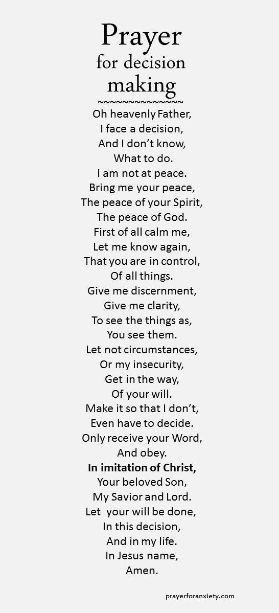 Prayer for decision making:
