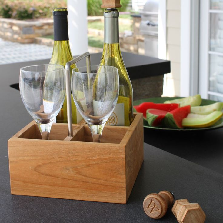 Built With Solid Teak And A Stainless Steel Handle, Easily Transport Wine  With The Small · Wine CaddyOutdoor DiningThe ...