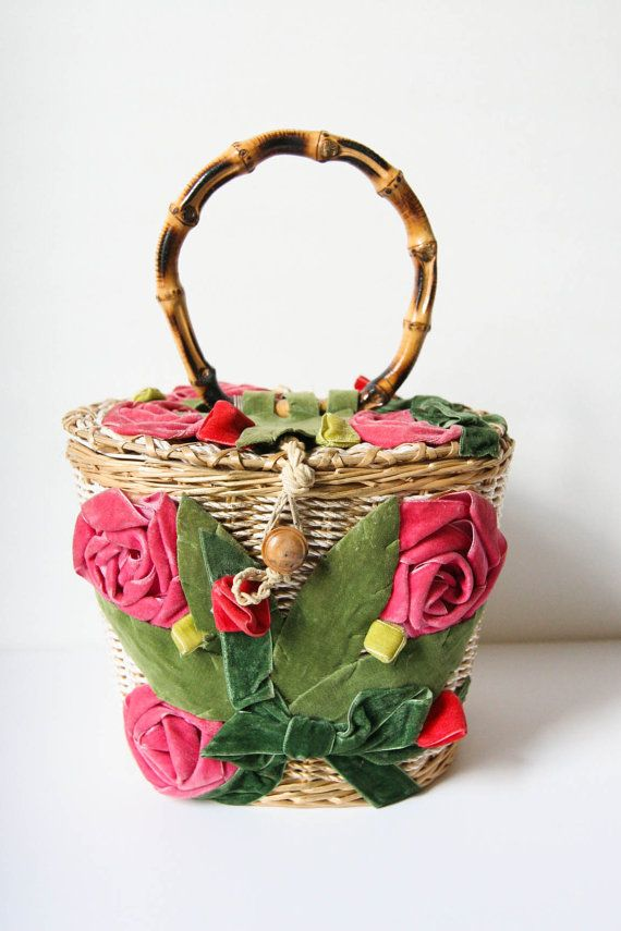 Vintage Velvet Flowers Basket Purse w/ Bamboo Handle by dingaling, $48.00