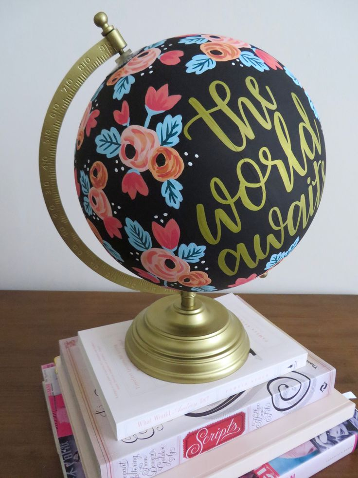 The world awaits painted globe // black, gold, coral, mint // graduation gift, going away present, new job, birthday, custom, florals, flowers