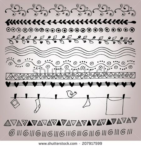 Hand Drawn Lines Strokes and Borders / Vector illustration of doodle hand drawn borders and lines - stock vector