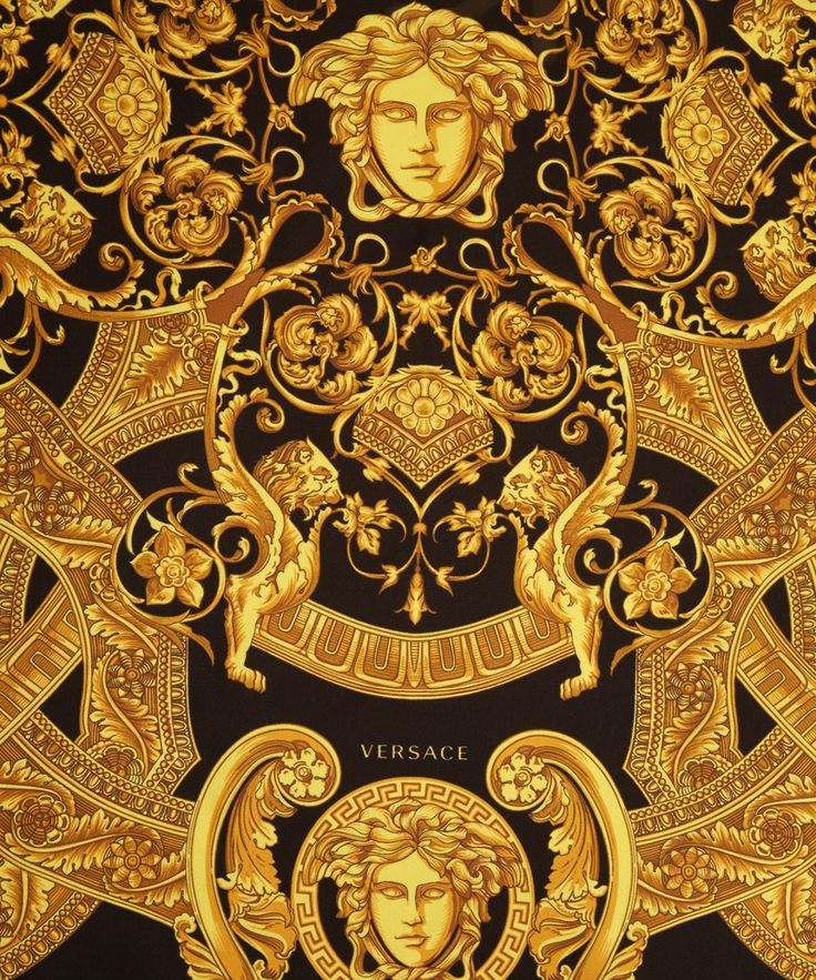 Versace Yellow Black and Gold Silk Scarf